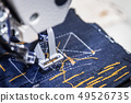 Sewing machine makes a stitch on the fabric 49526735