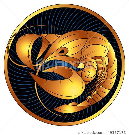 Cancer golden zodiac sign, vector horoscope symbol 49527178