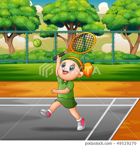 Happy girl playing tennis at the courts 49529270
