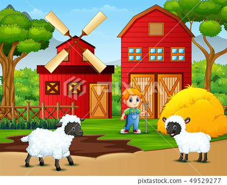 Happy little farmer and sheeps in the farm 49529277