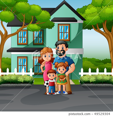 Happy family standing in front of the house 49529304