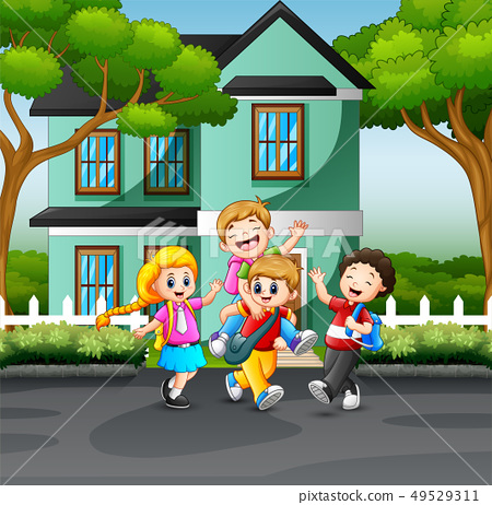 Happy children playing on the road 49529311