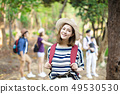 happy woman with backpack hiking in  forest 49530530