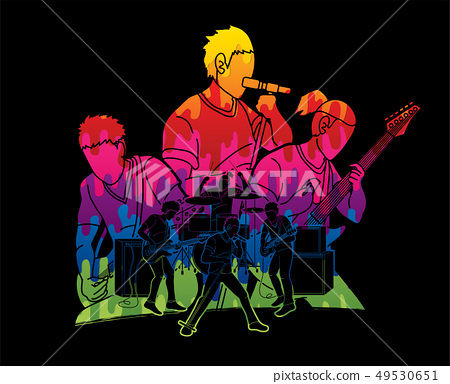 Musician playing music together, Music band vector 49530651