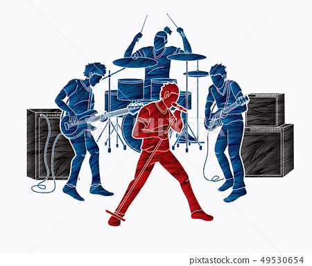Musician playing music together, Music band vector 49530654