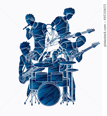 Musician playing music together, Music band vector 49530655