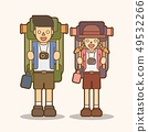 Couple carrying backpacks ready to travel graphic  49532266