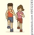 Couple running together, marathon running graphic  49532283