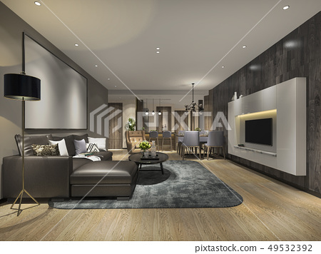 modern dining room and living room luxury decor 49532392