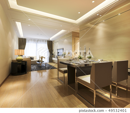 modern dining room and living room luxury decor 49532401