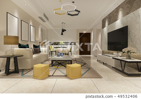 vintage living room with kitchen 49532406
