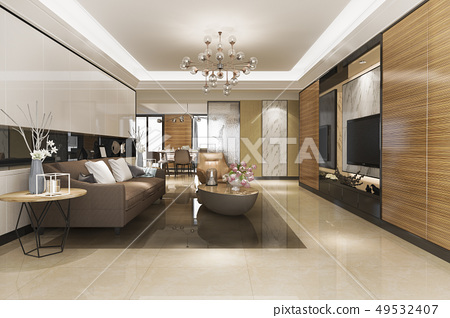 modern dining room and living room luxury decor 49532407