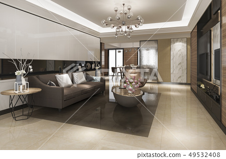 modern dining room and living room luxury decor 49532408