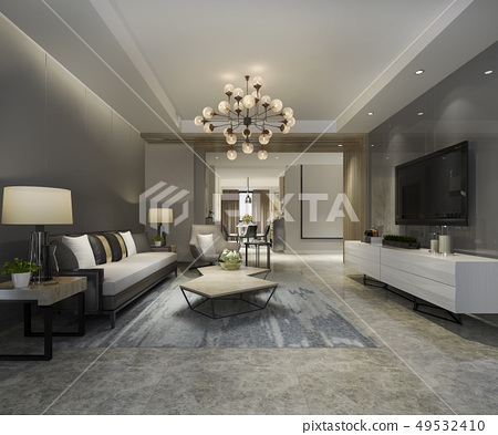 modern dining room and living room luxury decor 49532410