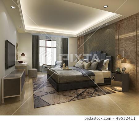 beautiful luxury bedroom suite in hotel with tv 49532411