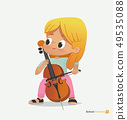 Blond Girl Sit on Chair Play Contrabass with Joy 49535088