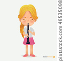 Blonde Girl Tress in Pink Skirt Play on Trumpet 49535098