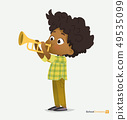 Afro American Boy in Green Shirt Play on Trumpet 49535099