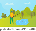 Fisherman on Vacation, Lifestyle of Person in Park 49535404