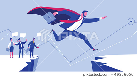 Businessman Leader in Suit Jump to Success Goal 49536056