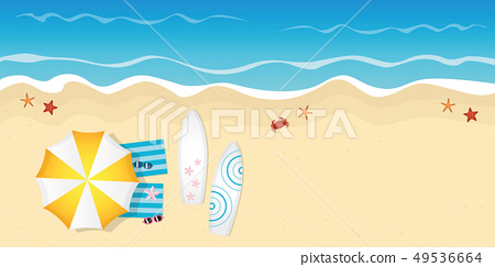 two surfboards and sunglasses on the beach summer holiday design 49536664