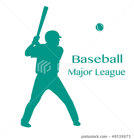 Baseball player with bat, ball Vector illustration 49539873