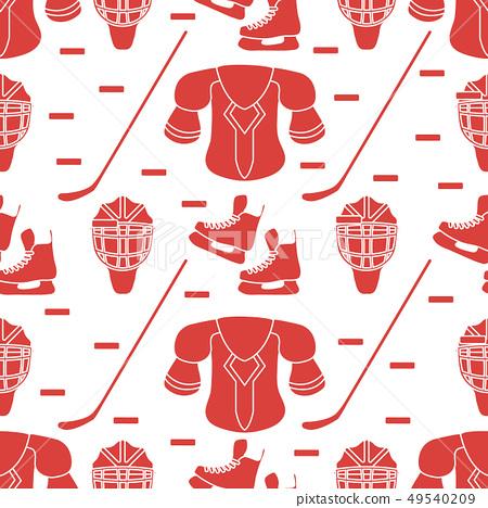 Sport seamless pattern Hockey equipment. 49540209