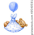 Cute  baby  Teddy bear cartoon with balloon, 49540591