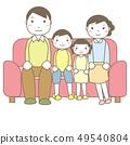 소파에 앉아 4 인 가족 49540804