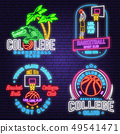 Set of basketball club neon design or emblem. Vector. Graphic design for t-shirt, tee, apparel 49541471
