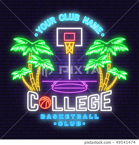 College basketball club neon design. Vector. Concept for shirt, print, stamp or tee. Vintage 49541474