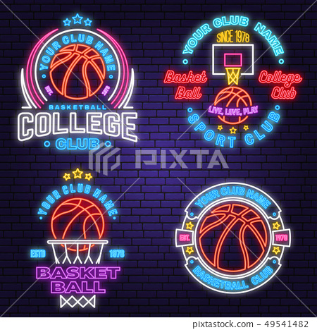 Set of basketball club neon design or emblem. Vector. Graphic design for t-shirt, tee, apparel 49541482