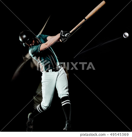 baseball player man isolated black background light painting 49545369