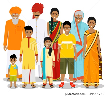 Family and social concept. Indian person generations at different ages. Set of people in traditional 49545739