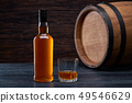 Whiskey glass and bottle on the old wooden table 49546629