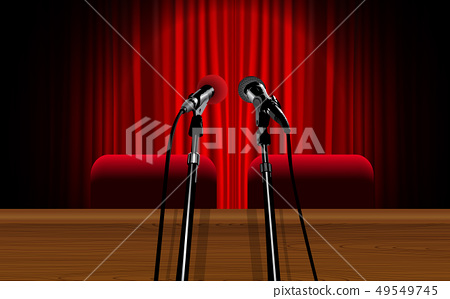 microphone with table on the stage 49549745