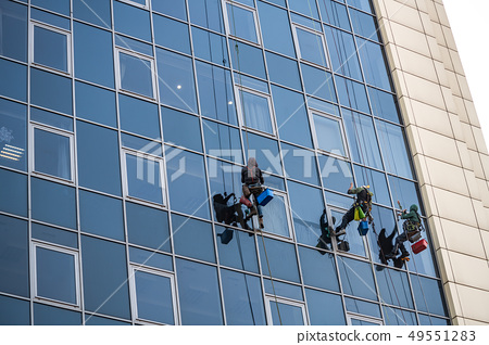 Glass clean man building tower work business 49551283