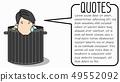Businessman hide dropped in trash. 49552092