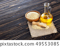 sesame oil in glass bottle 49553085