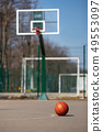 basketball ball on the outdoors cour 49553097