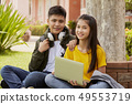 Student couple learning outdoors 49553719