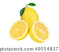 Fresh lemon with green leaves isolated. 49554837