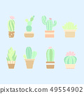 Cute pastel hand drawn cactus plant in the pots 49554902