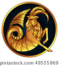 Capricorn golden zodiac sign gilt horoscope symbol 49555969