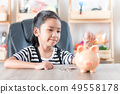 Asian little girl in putting coin in to piggy bank 49558178
