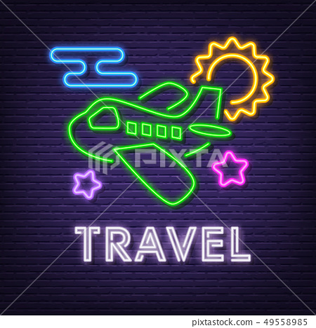 travel neon signboard 49558985