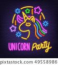 unicorn party neon signboard 49558986