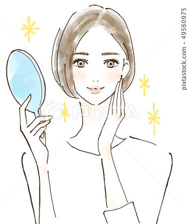 一個有過敏症的女人美麗閃亮的美麗肌膚 49560975