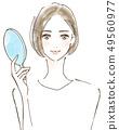 有鏡子秀麗秀麗的美麗的秀麗婦女 49560977