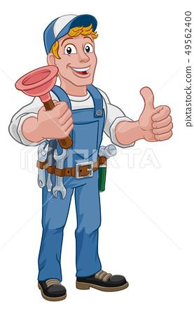 Plumber Cartoon Plumbing Drain Plunger Handyman Stock Illustration 49562400 Pixta